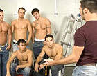 Handsome Luke found five horny studs in the garage