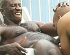 Huge musclar black dude fucking hard outdoors